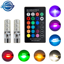 2pcs T10 RGB LED w5w Bulb 5050 6SMD T10 canbus 194 168 Car With Remote Controller Flash/Strobe Reading Wedge Light Multi Color