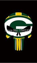 3X5FT Green Bay Packers flag Skull Style 100D Polyester Flag metal Grommets free shipping(China)