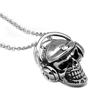 HIP Hop Gold-color Titanium Stainless Steel Skull Skeleton Music Headphones Headset Pendants Necklaces for Men Jewelry
