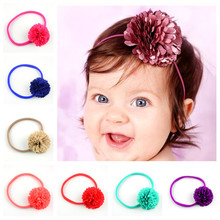 24pcs/lot 24colors 6cm Girls Chiffon Flower Headband with Nylon Elastic Hairband Kids  DIY Crafts Hair Accessories