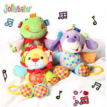 Jollybaby Pull and Play Melody Cute Musical Plush Stuffed Animal Baby Comfort Crib Hanging Toys for Infant Toddler Children Gift(China)