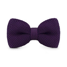 LF-315 New Arrival Knitted Crochet Men`s Bowties Adjustable DarkPurple Solid Neckwear For Men Party Bussiness Free Shopping
