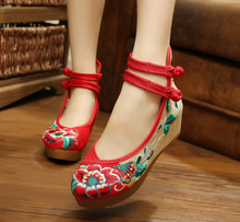 Red+Black+White+Denim Blue Chinese Style Pumps Cow Muscle Sole Mary Janes Embroidery Canvas Cloth Shoes Women Wedges Shoes G001(China)