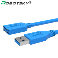 Robotsky USB3.0 Extension Cable USB 3.0 Cable Male to Female Data Sync Fast Speed Cord Connector for Laptop PC Printer Hard Disk(China)