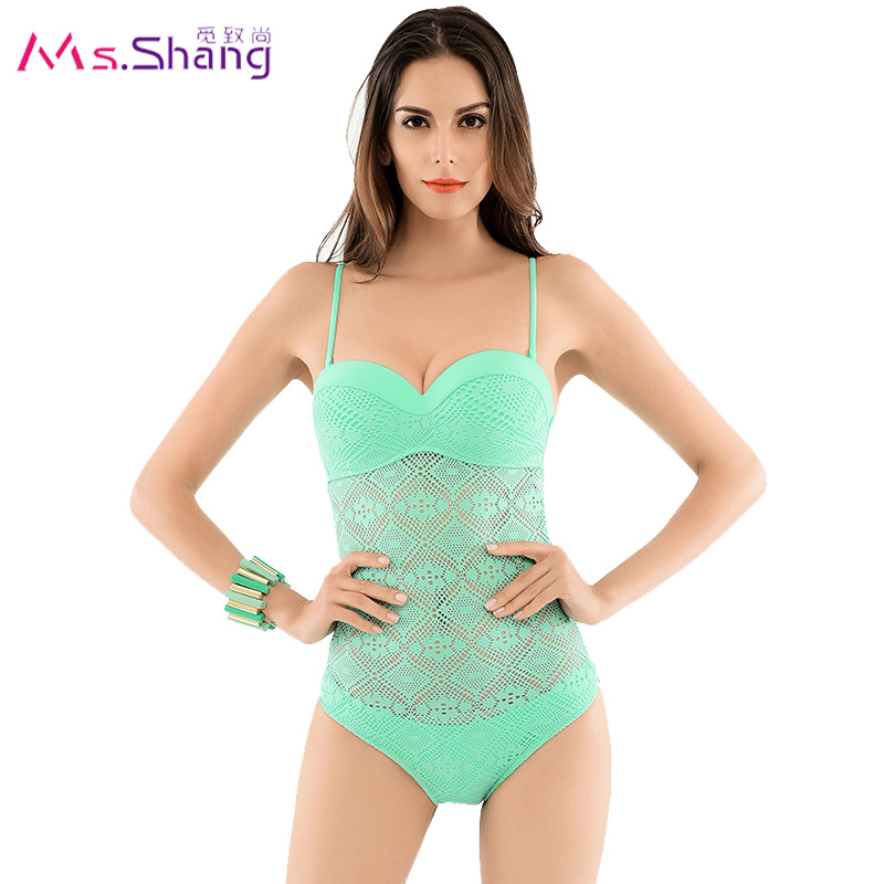Womens Hollow Out mesh Push Up One Piece Swimsuit Retro Crochet Swimwear 2017 High Neck Monokini Sexy Badysuit Mesh Bathing Suit<br><br>Aliexpress