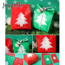 JOY-ENLIFE 50pcs Red/Green Plastic Bags Candy Box With Snowflake Xmas Dessert Cookie Bags Wedding Christmas Gift Decorations(China)