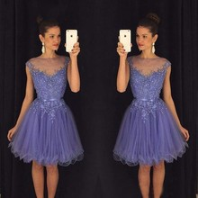 Elegant Cocktail Dresses A Line Short Appliques Beaded Homecoming Party Prom Gowns Graduation 8th Grade Lavender Custom Made