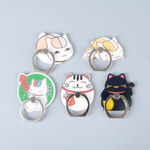 Koteta Anime Natsume Yuujinchou Nyanko Sensei Cat Mobile Phone Holder 360 Degree Metal Finger Ring Phone Stand for iphone ipad(China)