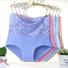 #2889LeafMeiry New Arrival Underwear Women Sexy High Wasit Flower Lace Panties Body Shaper Briefs Women Panties(China)