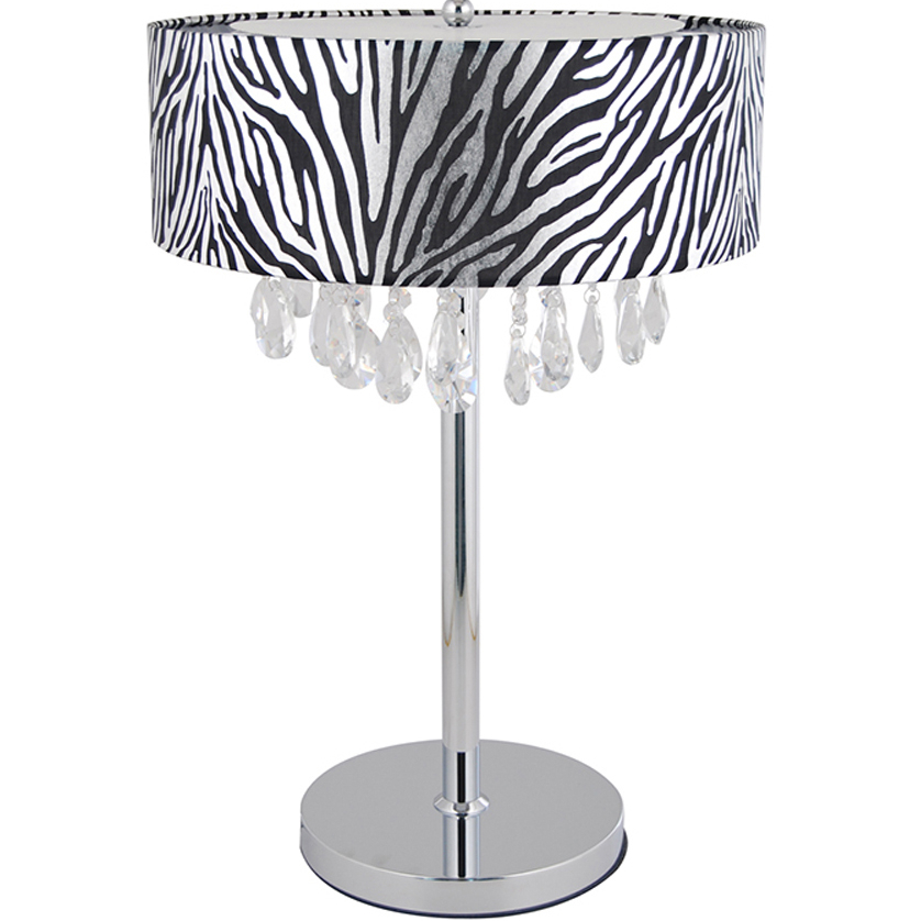 Elegant Designs Trendy Cascading Crystal and Chrome Table Lamp Drum Shade (1)