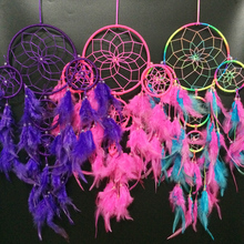 1PC 5 Colors Available Dream Catcher with 5 Babies Dreamcathcher Feathers Wall Hanging Decoration Crafts Ornament Gift