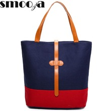 SMOOZA Fashion patchwork Canvas Bag Vintage big Women Shoulder Bags Ladies Beach Bag Tote Shopping Handbag casual Bolsa Feminina