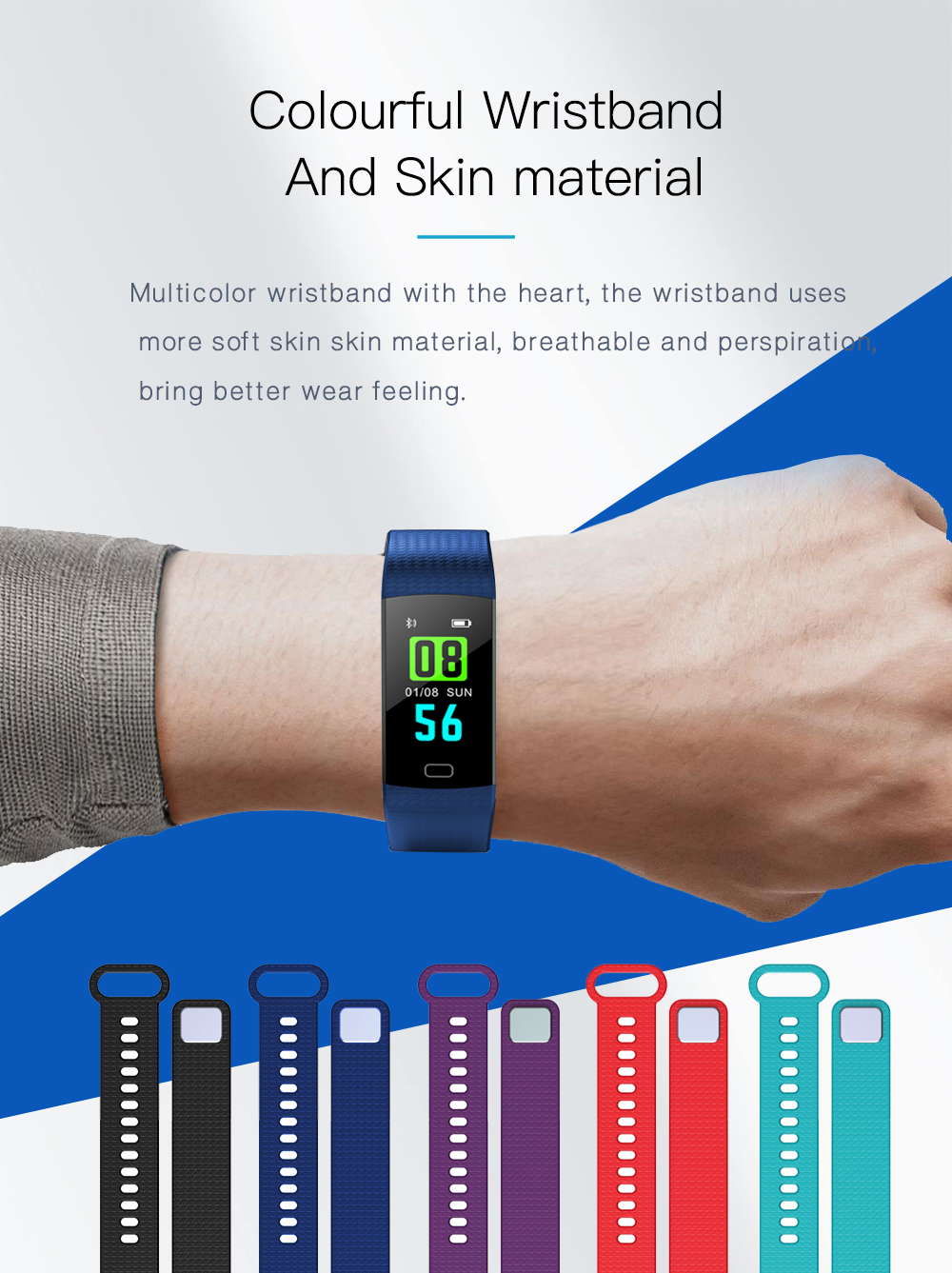 Y5 Smart Band Watch Colorful Display Wristband Activity Fitness Tracker Smart Electronics Heart Rate Bracelet VS Xiaomi Miband 2 -10