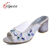 Big size 33-43 Summer New arrived crystal sandals peep toe sexy party wedding shoes fashion high heel elegant lady club sandals