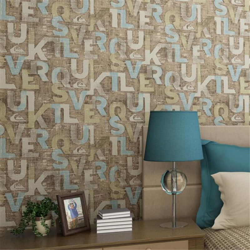 Beibehang  wallpaper 3d sitting sofa vintage American English letters study The 3D wallpaper of bedroom wallpaper for walls 3 d<br>