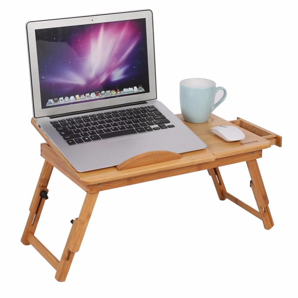 Folding Portable Bamboo Laptop Table Adjustable Computer Desk Sofa Bed Laptop Table With Cooling Fan Notebook Laptop Bed Table(China)