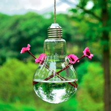 Bulb Shaped Plant Flower Clear Glass Vase Bottle Table Hanging Home Decor