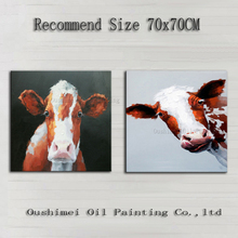 Skills Painter Directly Supply High Quality Hand-painted Cow Oil Painting On Canvas Hand-painted Modern Cow Decorative Painting