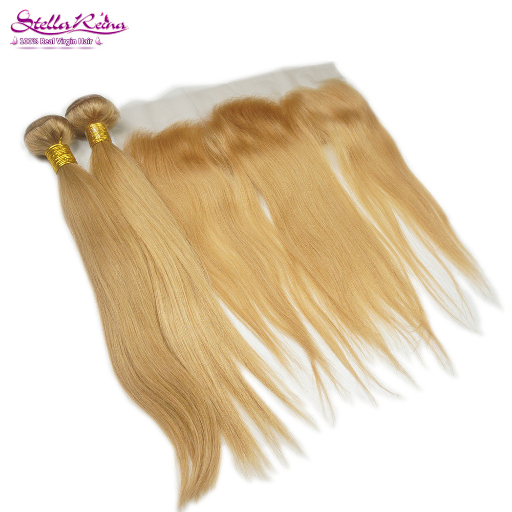 Blonde Lace Frontal Closure With 3 Bundles Brazilian Straight Virgin Hair Weaves Color #27 Honey Blonde Human Hair Extension<br><br>Aliexpress