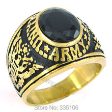 Free shipping! Gold Plated United States Army Ring Stainless Steel Jewelry Black Zircon Military Ring Motor Biker Ring SWR0142