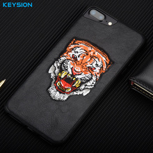 KEYSION Case for iphone 8 8 Plus 7 Chinese embroidered pattern 3D relief Tiger Bear Panther back cover work with magnetic holder