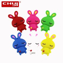 CHYI Cute Cartoon USB Flash Drive Pen Drive White Red Blue Pink Rabbits with Love Heart Memory Stick 4/8/16/32/64GB Pendrive