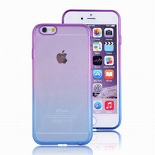 For iPhone 7 Case 6 6S Gradient Colorful Slim Flexible Soft TPU Bumper with Clear Impact Resistant Protective Hard PC Back Cover
