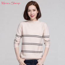 High Quality Women's Sweater 100% Pure Cashmere Pullovers Ladies Fashion Striped Half-Turtleneck Knitwear New Arrival Girls Tops