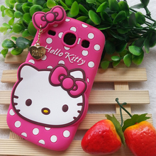 3D Lovely Cartoon Hello Kitty Polka Dot Soft Silicone Case Cover For Samsung Galaxy Core i8260 i8262 GT-I8262 Phone Cases