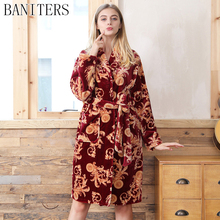 BANITERS Winter 2017 new flannel women robe sexy bathrobe High-end luxury nightgown Coral fleece warm pajamas Nightdress(China)