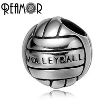 REAMOR 316l Stainless Steel Olympic Sports Volleyball Letter European Big Hole Spacer Beads Charms Fit Bracelet Jewelry Making(China)