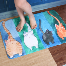 Bathroom Bedroom Mat Tea Table Bibulous Antiskid Watercolor Cat Carpet Kitchen Living Room Bath Room Door Carpet E5M1(China)