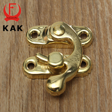 KAK High Quality Small Antique Metal Lock Catch Curved Buckle Gold Horn Lock Clasp Hook Gift Jewelry Box Padlock With Screws