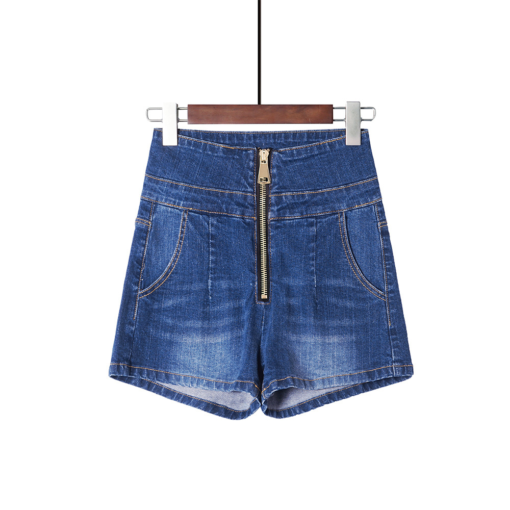 Women Vintage High Waist Zipper Stretch Denim Shorts Summer Slim Fit Sexy Shorts Jeans Womens Clothing Plus Size