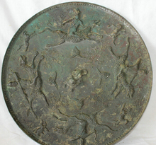 "SCY S0524 16"" Old Chinese Dynasty Bronze Man Warrior Ride Horse Hunting Run Round Mirror"