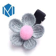 M MISM New 1pc Baby Girls Knitted Flower Hairpins Barrettes Children Hair Accessories Ornaments Hair clip for Princess Dress