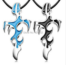 2014Fashion Cross&Sword Pendant Necklace Men Titanium Stainless Steel Jewelry Black Blue Flame Courage Overbearing Evil Necklace