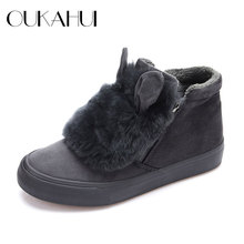 New Fashion Natural Rabbit hair ears women Ankle Boots For Women Winter keep warm Real rabbit fur Real rabbit fur woman shoes(China)