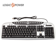 LOGIC POWER Original Keyboard English Russian wired USB Gaming Multimedia Keyboard QTY of buttons 104+30 #2734