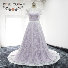 Rose Moda Short Sleeves Purple Wedding Dress Chantilly Lace Wedding Dresses with Sash Real Photos(China)