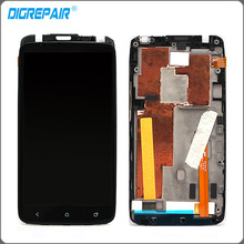 Black For HTC One X AT&T LCD Display Touch Screen Digitizer with Bezel Frame Full Assembly Replacements Parts
