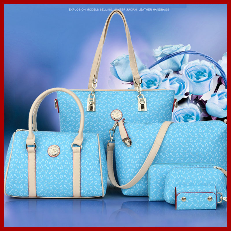 2016 Designer Women Leather Handbags Black Embossed Shoulder Bags Ladies Cross Body Bags Large Capacity Ladies Bolsa 6 Pieces<br>
