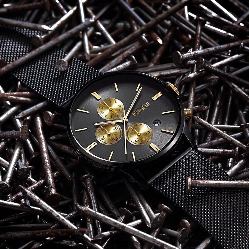 BAOGELA Chronograph New Men Quartz Watch Stainless Steel Mesh Band Gold Watches Slim Men Watches Male Relogio Sports Wristwatch<br>