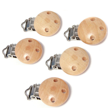 5PCS Baby Pacifier Clips Holder Natural Color Wooden Round For Baby 4.5cm x2.8cm Funny Pacifier