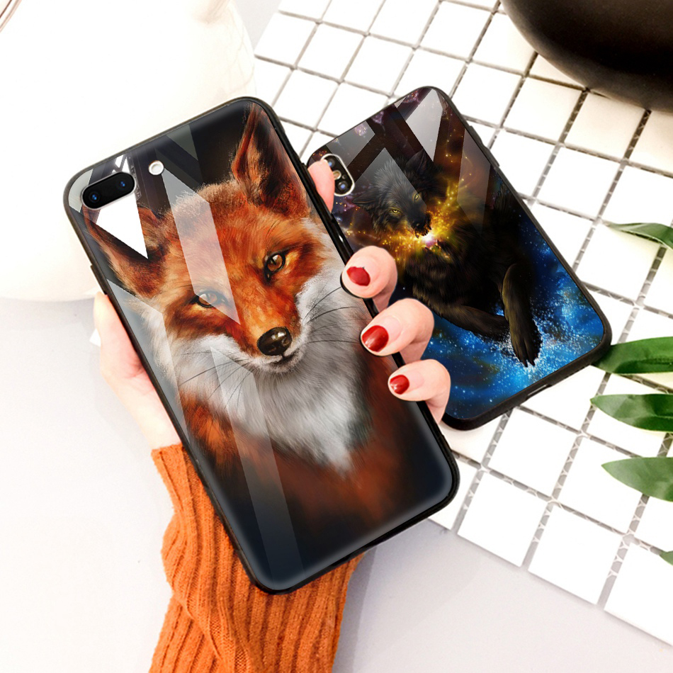 TOMKAS Animal Glass Case For iPhone X 8 7 10 6 Cover Phone Cases For iPhone X 7 8 6 6s Plus Case Luxury Cute TPU PC Covers Coque (16)