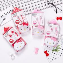 Cute Lovely Hello Kitty Pink 3.5mm In-Ear Stereo Earphones Hellokitty Earbud Headset With Microphone For Phones With Storage Box(China)