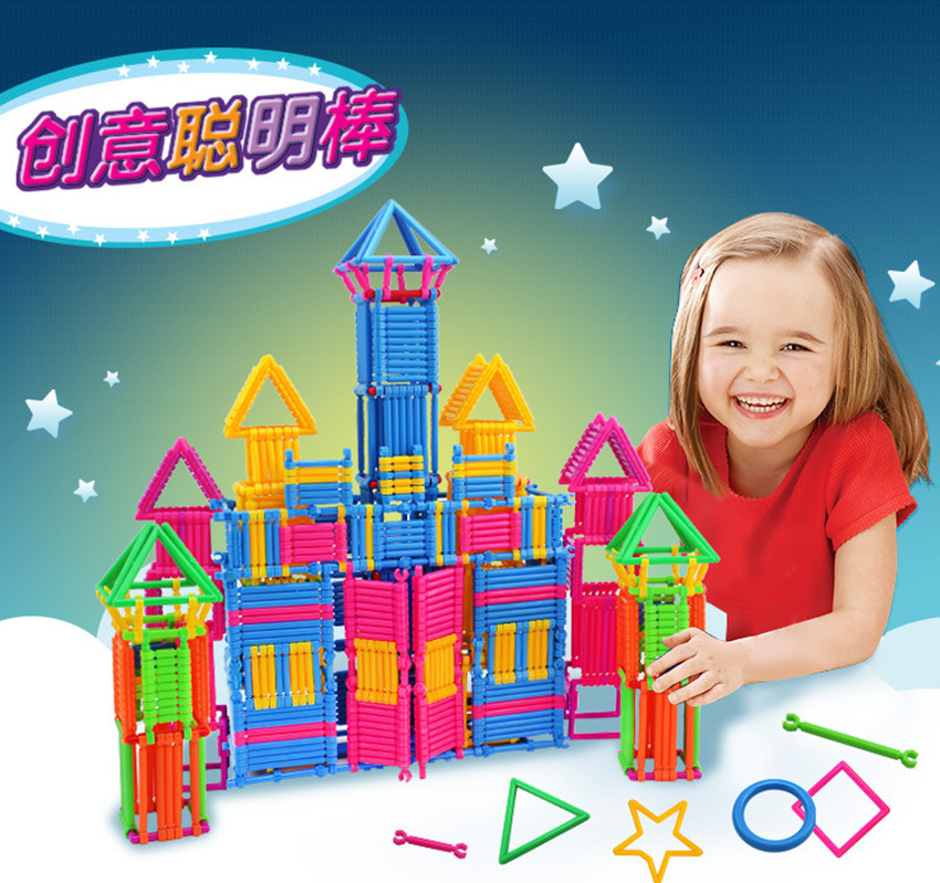 BD 256pcs Kids DIY Creative Intelligence Sticks Blocks Plastic Early Educational Magic Learning Building Blocks Toys Gift 1