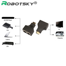 Robotsky 2PCS/set HDMI To Dual Ports RJ45 Network Cable Extender Over by Cat5e/Cat6 Cables 1080p For HDTV HDPC PS3 STB Wholesale