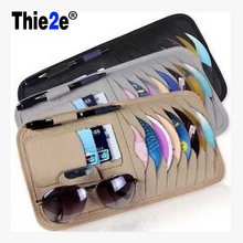 Leather Auto Car Sun Visor CD Cards Glasses Tickets Pen Zipper Storage Bag Holder Organizer