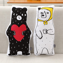 2017 New Nordic Black White Bear Plush Toys Love Bear Cushion Pillow Dolls Kids Room Decoration Friends Lovers Gift 50 x 25cm(China)